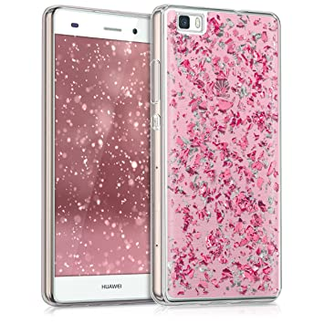 kwmobile Funda para Huawei P8 Lite (2015) - Carcasa para móvil de [TPU] con diseño de Purpurina - [Rosa Claro/Plata/Transparente]