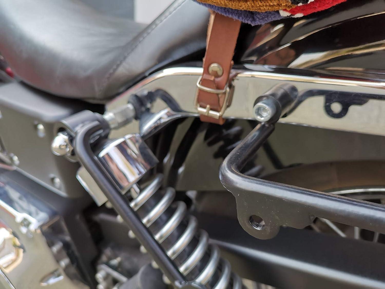 Supporto sinistro compatibile con borsa da sella Dyna HD 1996 2017 modelli Harley Davidson Streetbob Fat Bob Wide Glide Acciaio verniciato a polvere ORLETANOS The Big