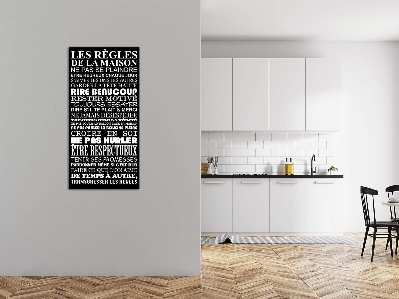 Impression Citation sur Toile d/écoration Murale D/éco Maison Salon Chambre Adulte DECLINA Tableau Deco/Citation Les r/ègles de la Maison Cuisine Noir et Blanc 60x30 cm