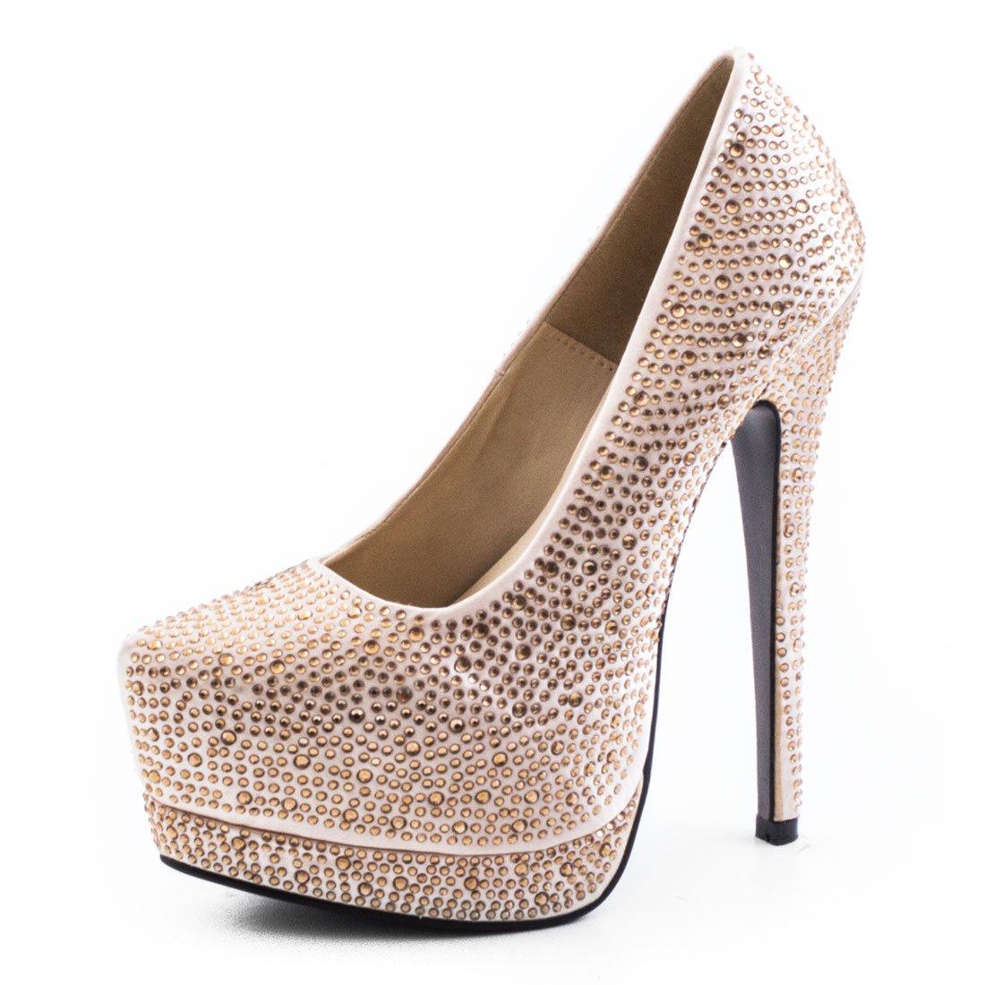 Goldene High Heels mit Nieten und Glitzer