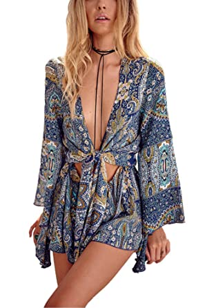 23ed1c289ef9 Minetom Women s Summer V Neck Long Sleeves Floral Print Jumpsuit Beach Playsuit  Loose Shorts Cocktail Party