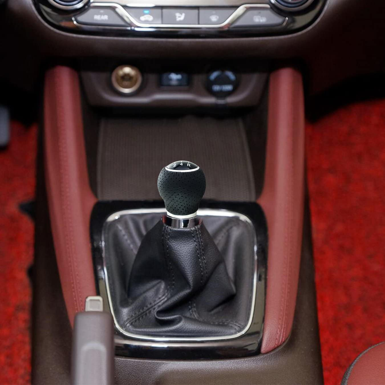 Arenbel 5-Speed Stick Shifter Knob Leather Shifting Shift Lever Head Replacement fit Most Manual Automatic Vehicles Black