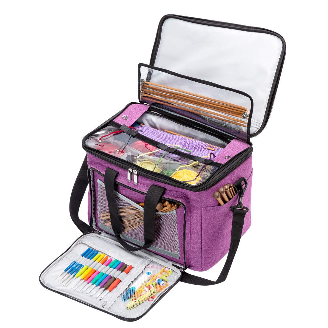 BENGDA Knitting Bags and Totes,Crochet Yarn Organizer with Inner Divider for Knitting Needles,Project and Supplies,Easy to Carry, High Capacity (Purple with Cover) by BENGDA (Image #1)