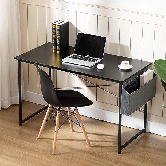 Sengo 55″ Black Computer Desk Home Office Desk Work Table Study Writing Table Workstation Desk