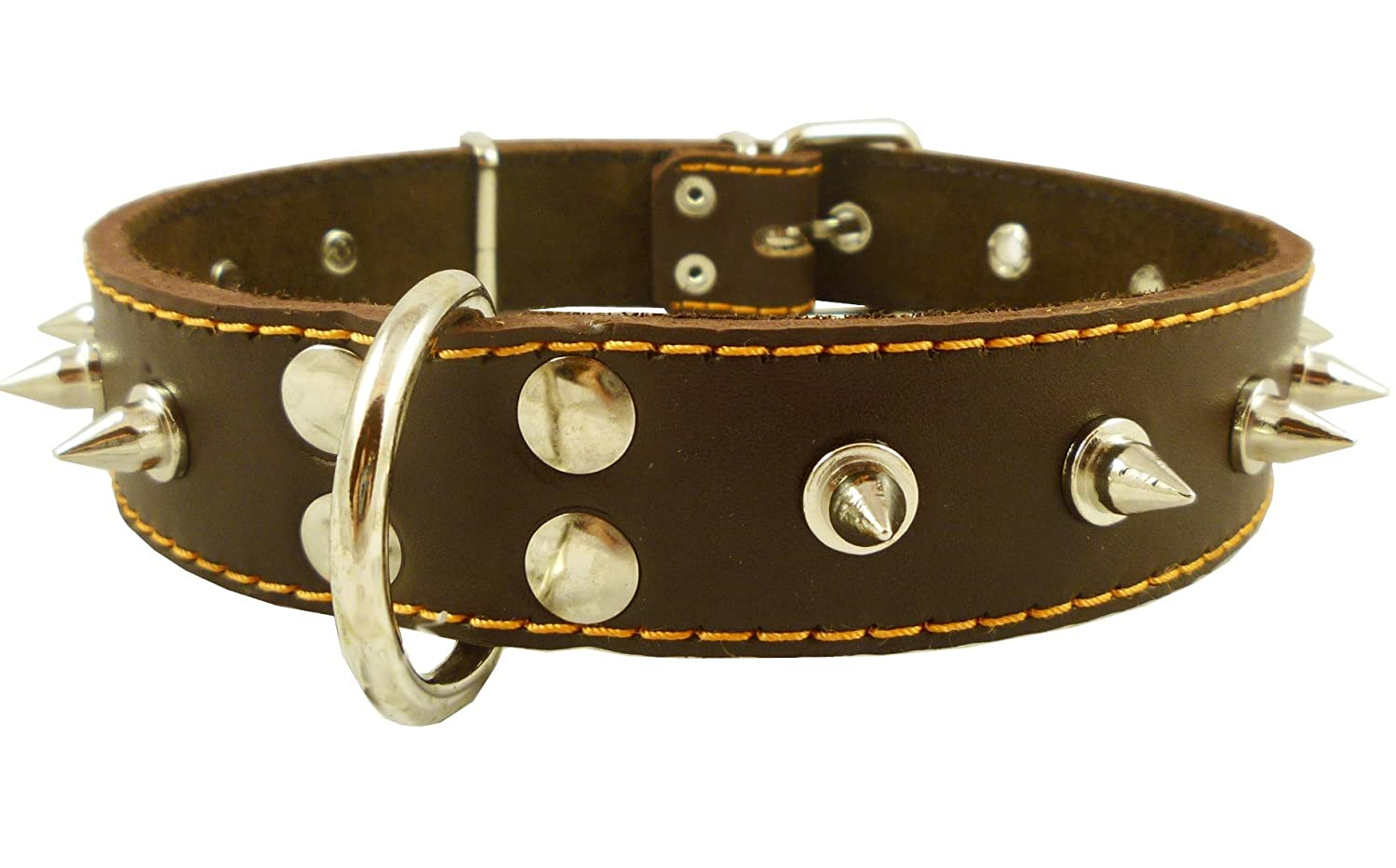 Real Leather Brown Spiked Dog Collar Spikes, 1.5 Wide. Fits 17-21.5 Neck, Large Breeds.
