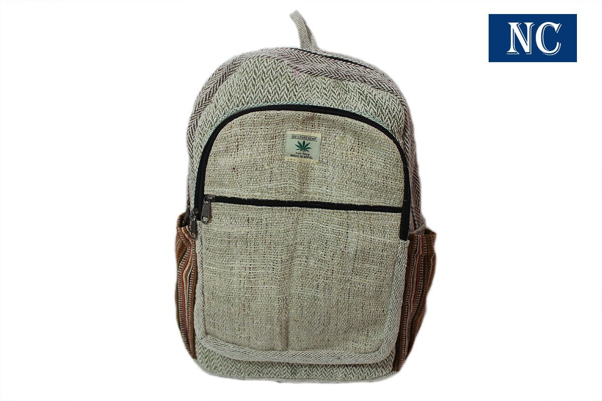 Himalayan Pure Hemp Multi Pocket Backpack with Laptop Sleeve - Fashion Cute Travel School College Shoulder Bag / Bookbags / Daypack