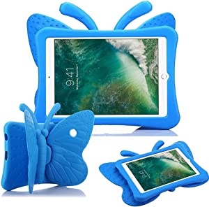 iPad Mini Case for Kids, Cute Butterfly Wing Double as Stand Light Weight Kid-Proof Durable EVA Foam Protective Tablet Bumper Cover for Apple iPad Mini 1/2/3/4 - Blue
