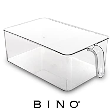 BINO Refrigerator, Freezer, and Kitchen Pantry Cabinet Organizer Plastic Bin with Handle, Clear Plastic Storage Bins Refrigerator Organizer Bins Fridge Organizer Pantry Organizer Pantry Storage, Large