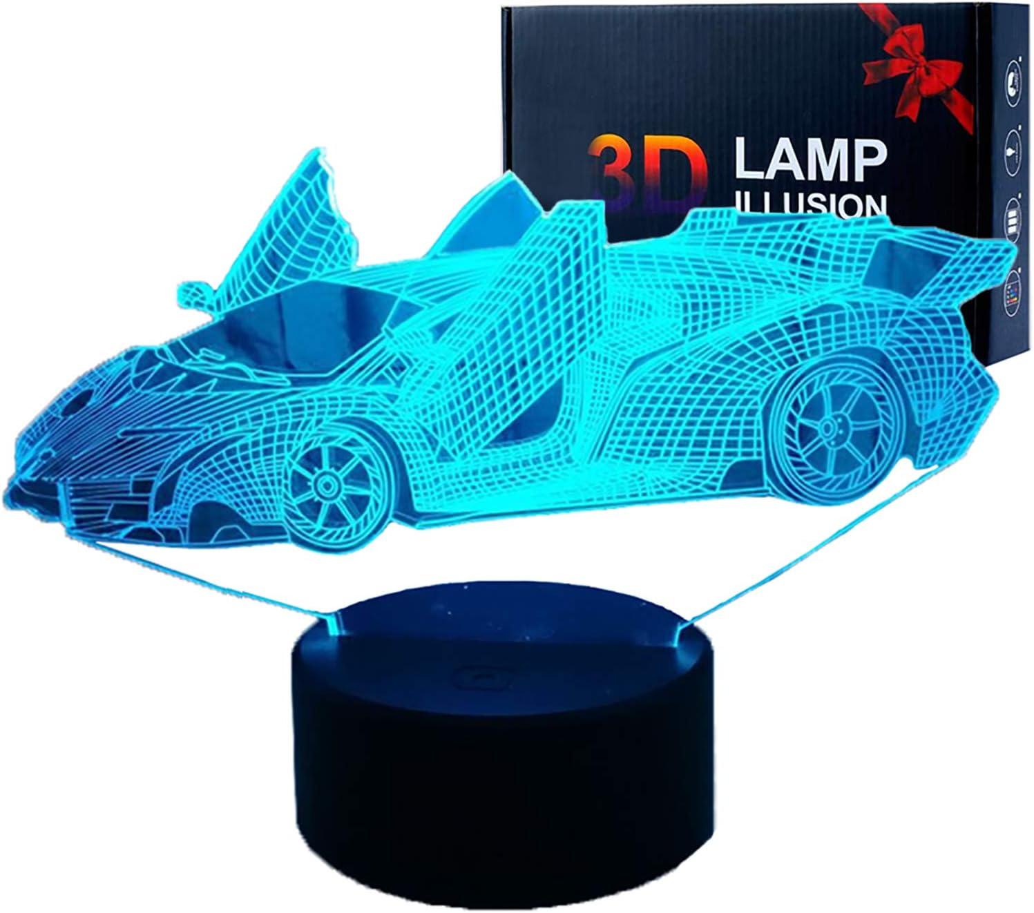 3d Illusions Lampen Led Sport Auto Nachtlicht Usb 16 Farben Sensor Schreibtischlampe Für Kinder Weihnachten Geburtstag Geschenke Heimdekoration Beleuchtung