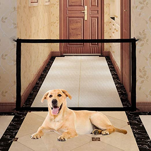 Amazon.com : Orgen Magic Gate for Dog Safety Mesh Gate Folding Portable Anywhere Install(71×28 in), Magic Baby Gate Safe Guard Fence for Hall Doorway Wide Tall(Black) : Baby