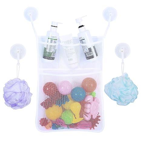 BrilliantDay El mejor bolso para el organizador del cuarto de baño, almacenaje superior del juguete de la bañera con 2 tazas de succión resistentes #1