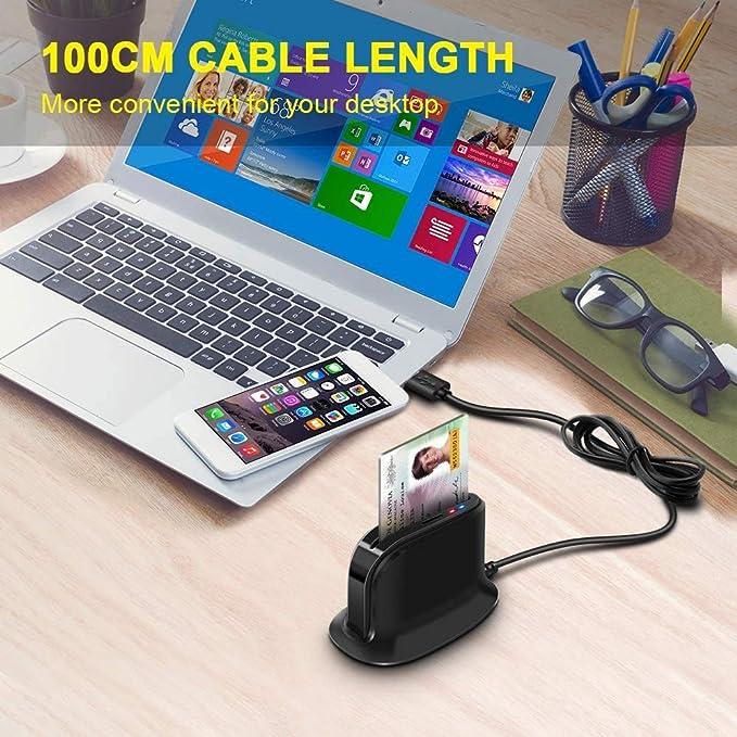 Rocketek Lector de Tarjetas Inteligentes USB,DOD Military USB Adaptador de Lector de Tarjetas CAC de Acceso común   Tarjeta de identificación/Tarjeta ...