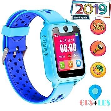 clásico tecnologías sofisticadas venta de liquidación GPS Niños Smartwatch Phone - Tracker Watch Relojes para Niños con Contador  de Pasos Geo Fence Cámara SOS Linterna Chat de Voz Juego para 3-12 Niños ...