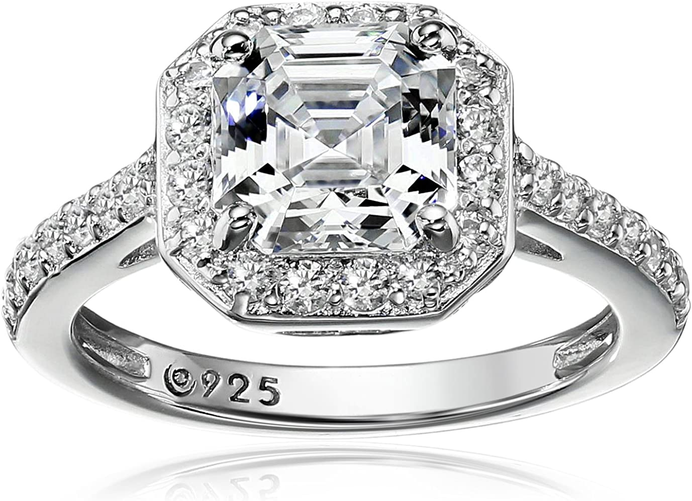 Platinum or Gold Plated Sterling Silver Asscher-Cut Halo Ring Set with Swarovski Zirconia