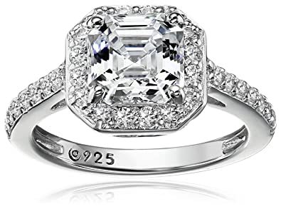 b651d35b0a39 Amazon.com  Platinum or Gold Plated Sterling Silver Asscher-Cut Halo Ring  Set with Swarovski Zirconia  Jewelry