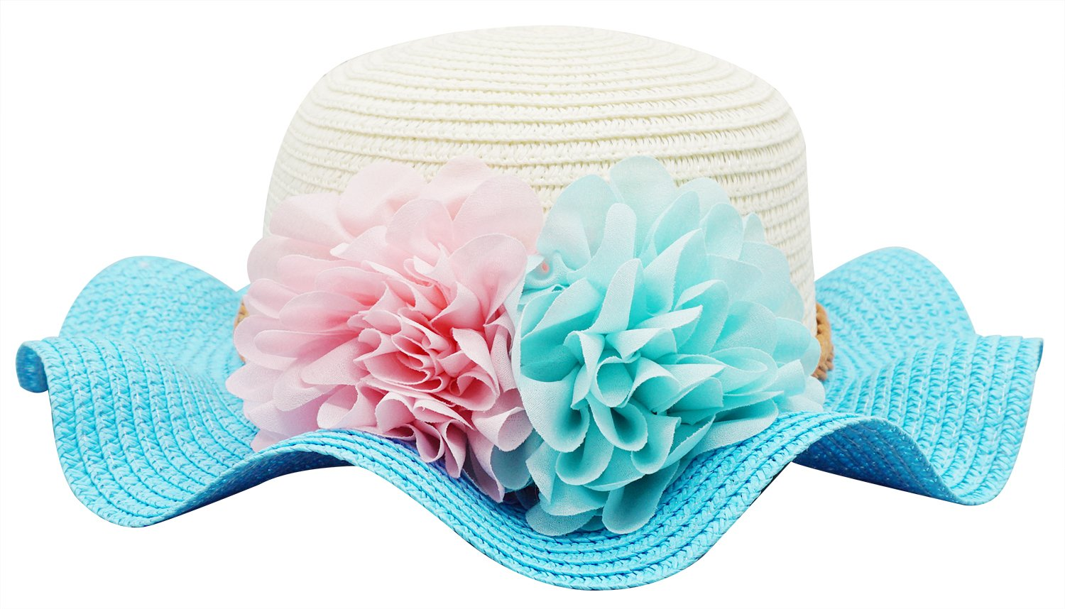 Bienvenu Little Girls Straw Floral Wide Large Brim Beach Sun Hat Cap,Style2_ Blue