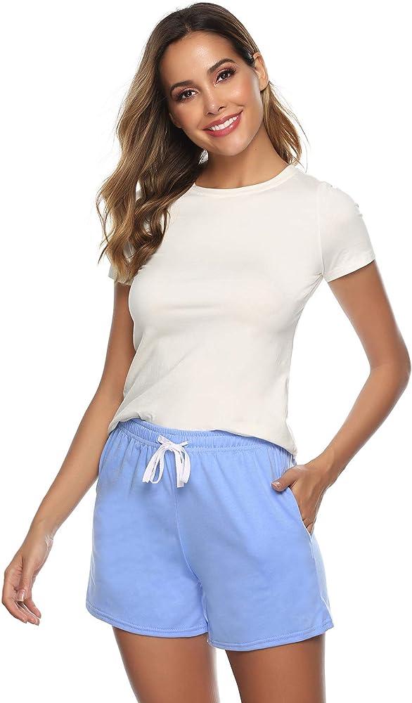Sykooria Pantalones Cortos Deportivos para Mujer Pantalones de Running de Cintura Suave con cordón Suave 100% algodón Chándal Yoga de Gimnasio Inferior: Amazon.es: Ropa y accesorios