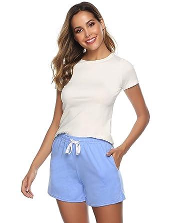 De couleur Pyjama 100Coton Sykooria Shorts Et Rayures Femme Unie NOnwkX08P