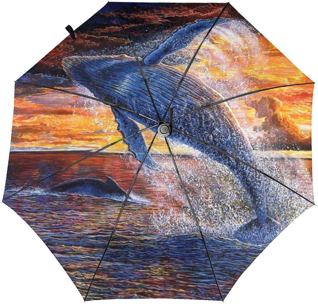 Humpback Whale Jumping Automatic Tri-fold Umbrella Interesting Windproof Anti UV Rain//Sun Travel Umbrella Light Weight.