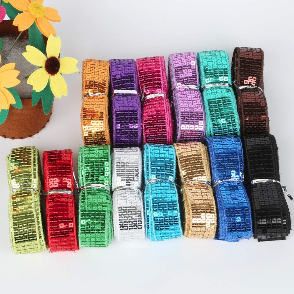 20 Yards 5 Rows Crafts Sequin Flat Glitter Stretch Bling Paillettes Fabric Ribbon Metallic Applique Trim Lace for Dress Embellish Headband Dancing Costume Stage Garments Decoration Silver