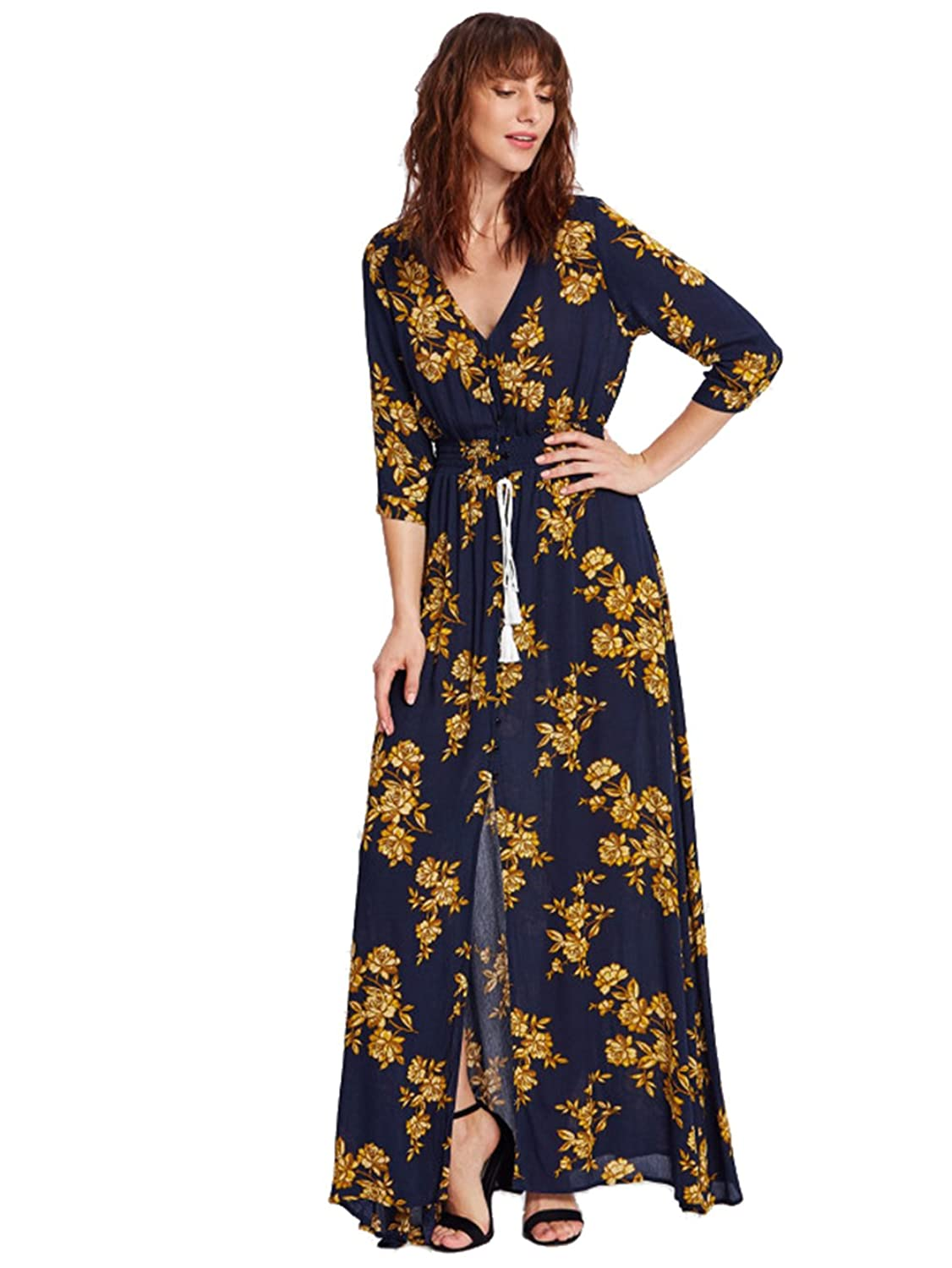 Milumia Women's Button Up Split Floral Print Flowy Party Maxi Dress