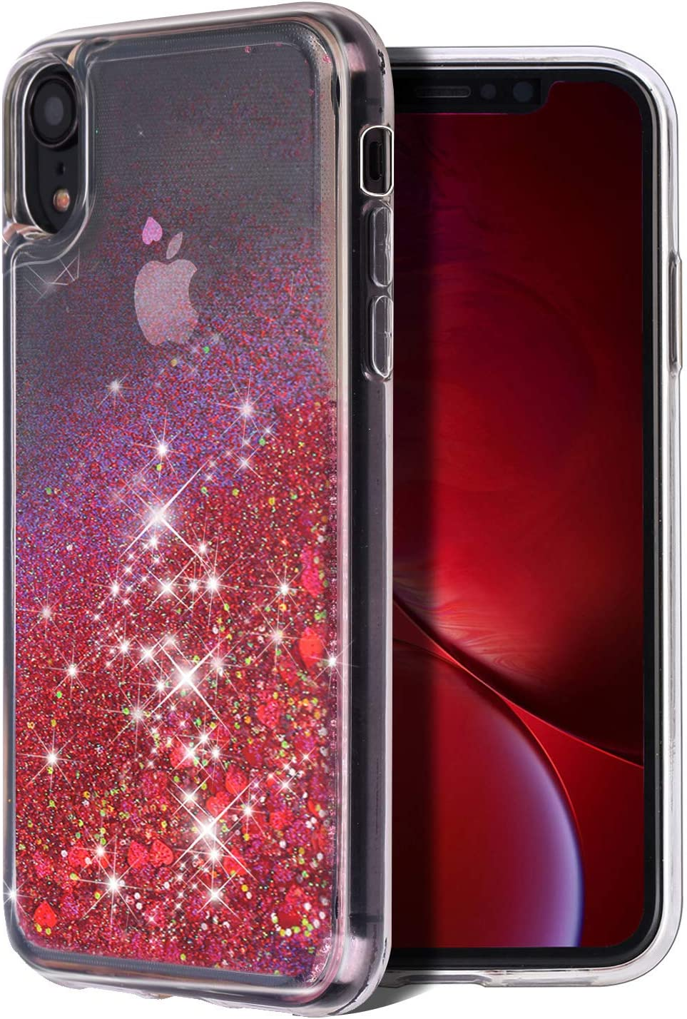 for iPhone XR Case, WORLDMOM Double Layer Design Bling Flowing Liquid Floating Sparkle Colorful Glitter Waterfall TPU Protective Phone Case for Apple iPhone XR [6.1 Inch 2018], Red