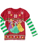 Disney Princesses Ariel, Belle, Rapunzel Christmas Toddler Little Girls T-Shirt