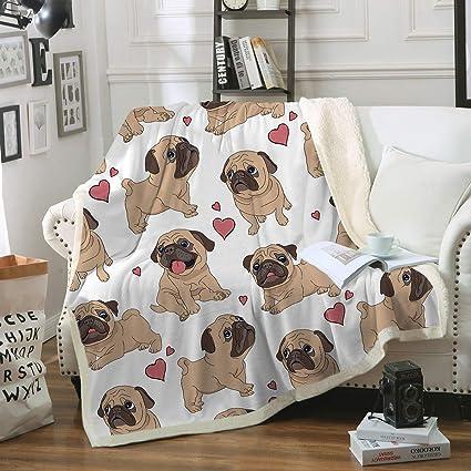 6732076e4bc Sleepwish Pug Fleece Blanket Pet Blanket Dog Reversible Blanket Soft Sherpa  Blanket Throw Blanket Pug Lover