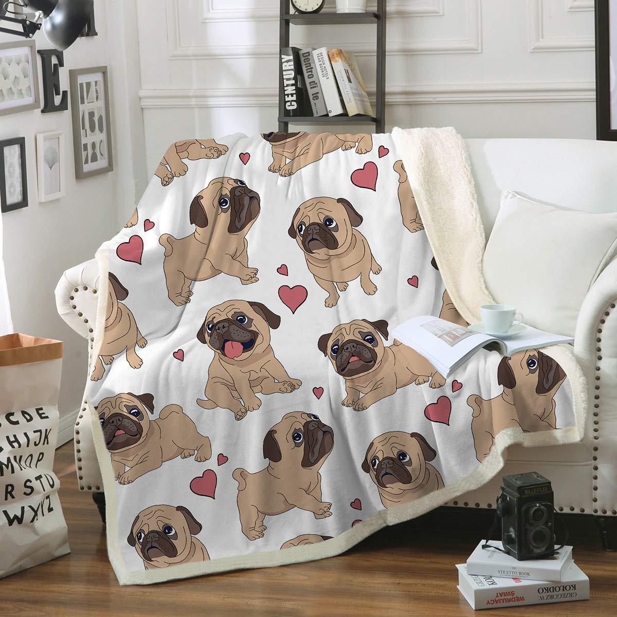 Sleepwish Pug Fleece Blanket Pet Blanket Dog Reversible Blanket Soft Sherpa Blanket Throw Blanket Pug Lover (50''x 60'')