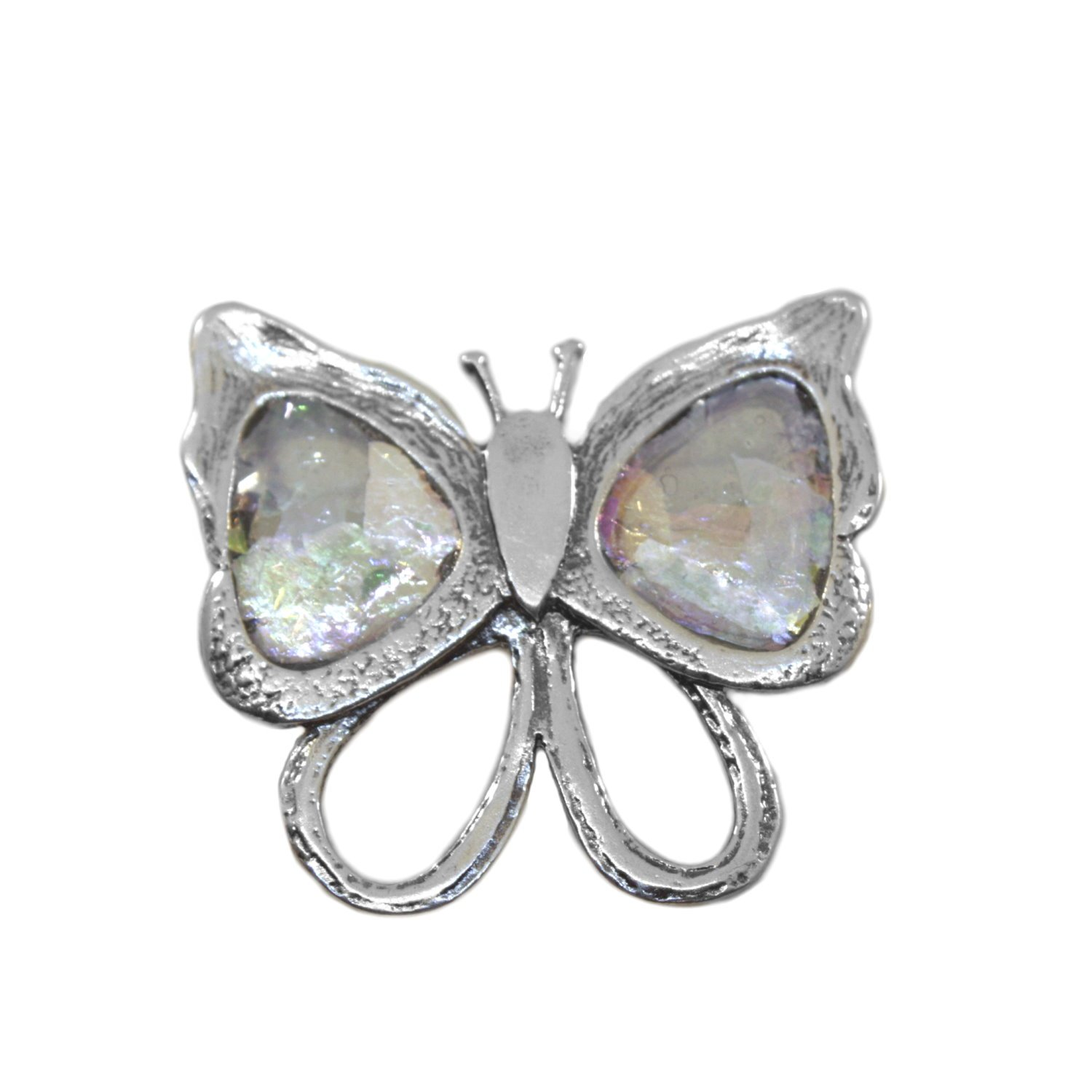 Ancient Roman Glass Multicolor Butterfly Pin or Pendant Sterling Silver by Roman Glass Company