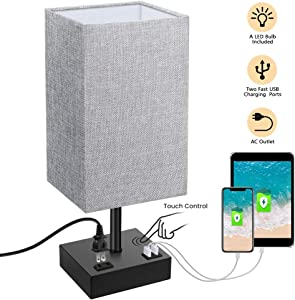 Touch Control Table Lamp, SOLMORE 3 Way Dimmable Bedside Table Lamp, with AC Outlet & 2 Charging USB Ports Fabric Shade Modern Lamp for Bedroom Office Living Room,60W Equivalent LED Bulb Included