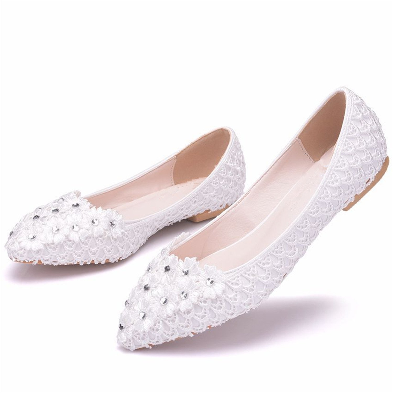 Aiybao White Lace Wedding Shoes for Bride Comfort Bride Shoes Wedding Bridal Dresses B07BGZ79B5 5 B(M) US|Rhinestone