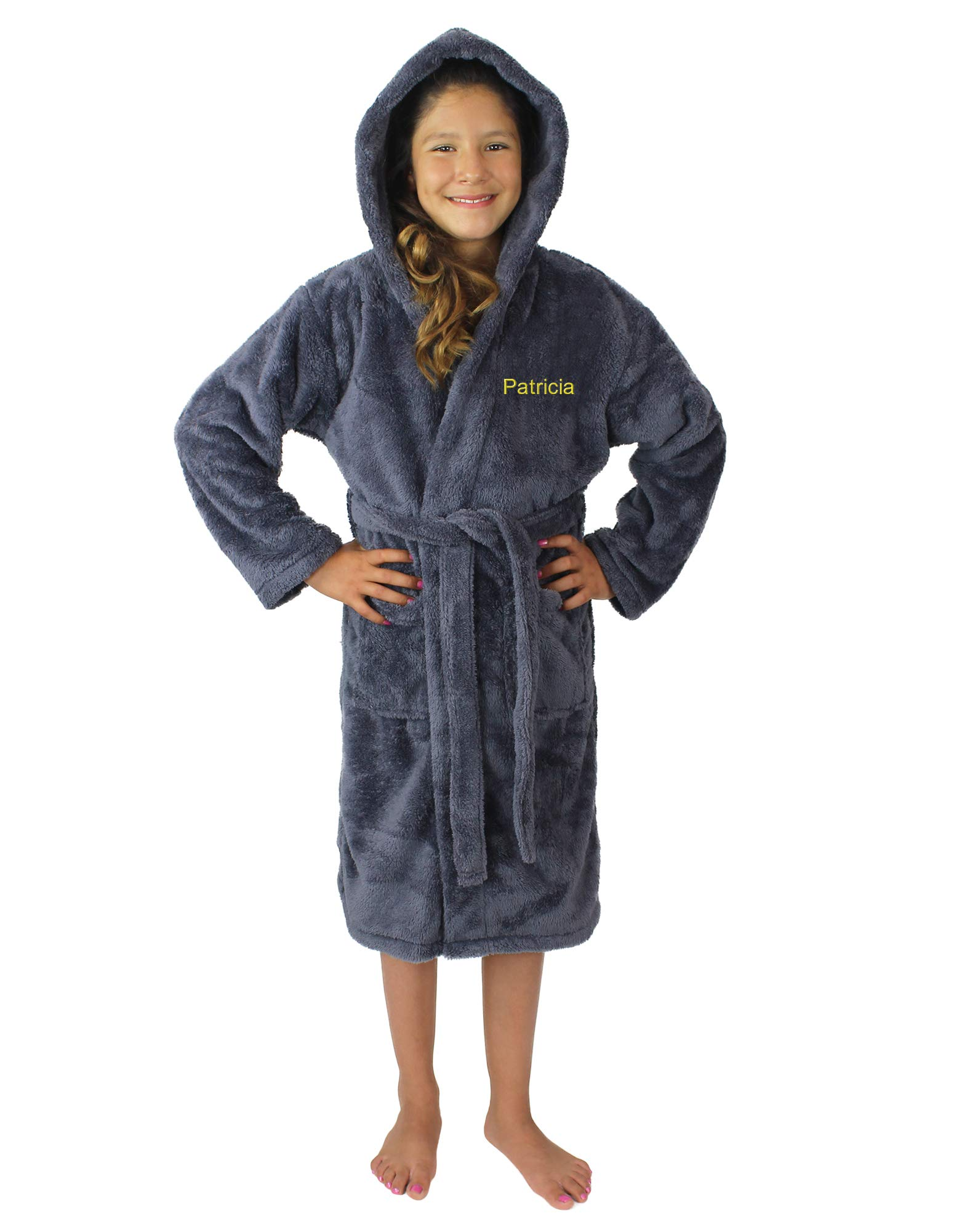 Kids Plush and Soft Fleece Hooded Bathrobe for Girls and Boys (Gray, Large)