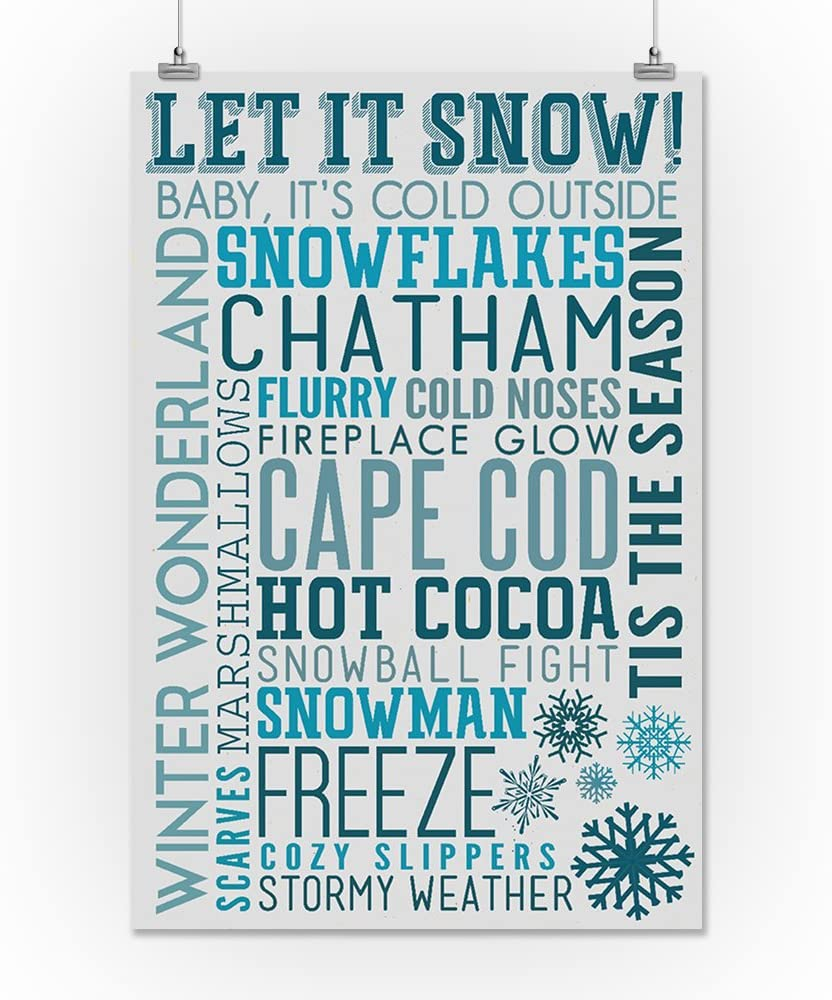 Cape Cod Typography Christmas 24x36 Giclee Art Print, Gallery Framed, White Wood Massachusetts Let it Snow