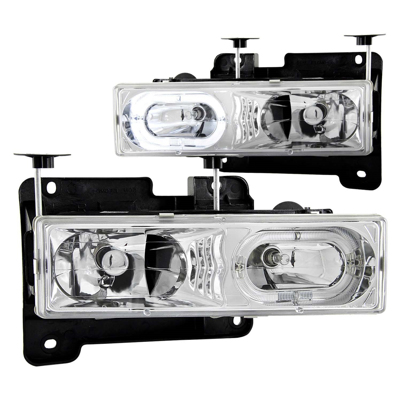 1992 1999 Gmc Yukon Euro Clear Headlights Halo Rim 8 Gm Wiring Diagrams 1993 Suburban 4x4 Led Fog Bumper Light Automotive