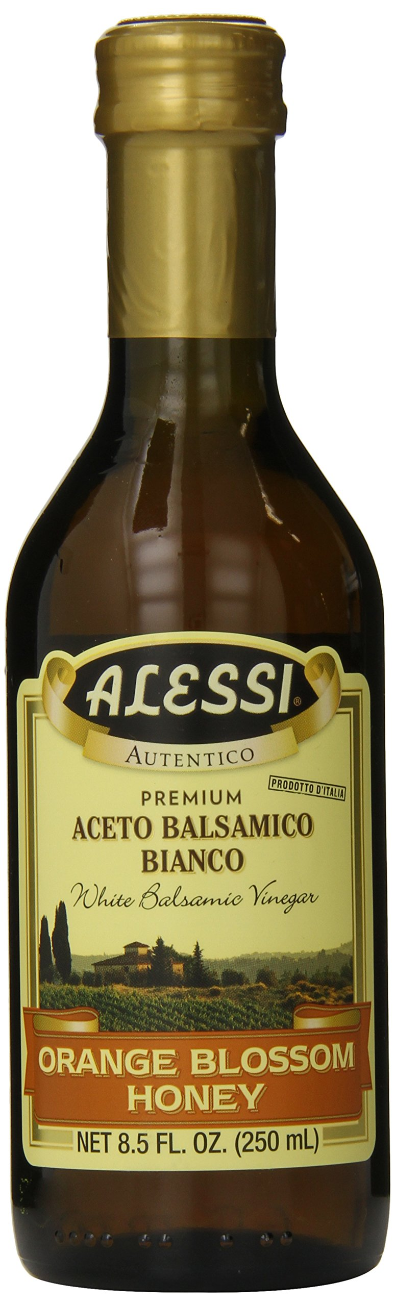 Alessi Honey Balsamic Vinegar, 8.5 Ounce 1 A deposit found in the bottle is a natural occurrence of the product and does not deter the quality. Alessi Orange Blossom Honey Balsamic Vinegar is a ligh