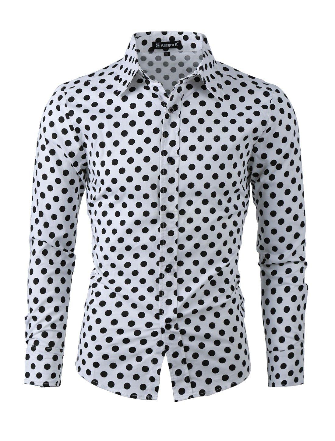 uxcell Men 100% Cotton Polka Dots Long Sleeve Slim Fit Dress Shirt g15041400ux0003