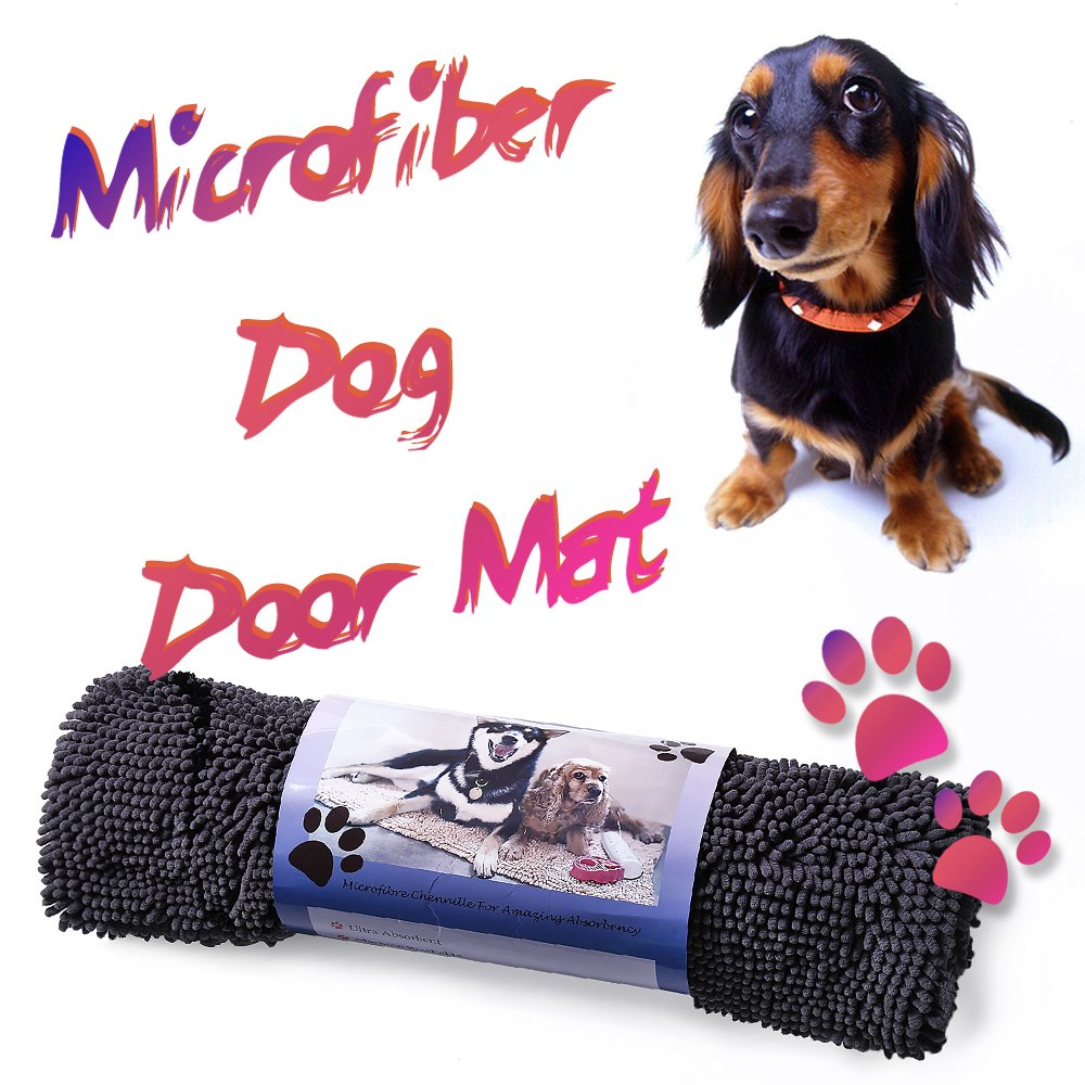 Ultra Absorbent Microfiber Chenille Dog Door Mat, Dog Gone Smart Large Dirty Dog Doormat, Durable, Quick Drying, Washable, Prevent Mud Dirt, 36  X 26