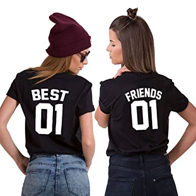 c6a62b8b Friend Shirts Best Friends Matching Tshirt for Girls Women Cute Graphic  Cotton Tee Design Funny Printed: Amazon.co.uk: Clothing