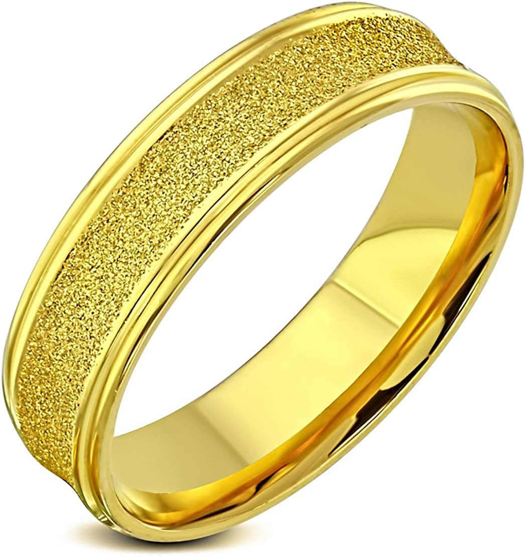 Stainless Steel Gold Color Plated Sandblasted Comfort Fit Concave Wedding Band Ring