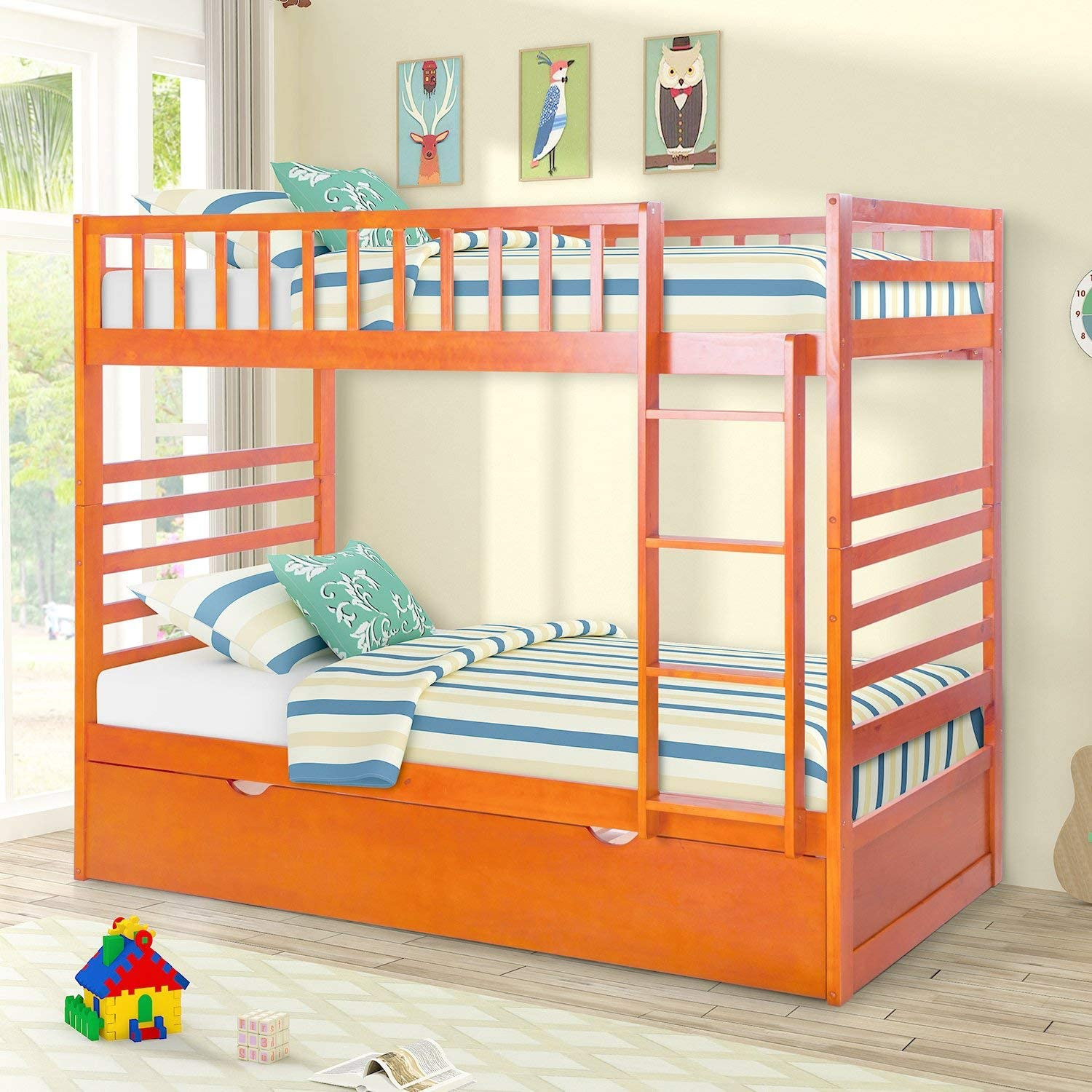 Twin Bunk Bed with Trundle Solid Wood Bedframe Space Saving Design Sleeping Bedroom Furniture with Ladder and Safety Rail for Boys and Girls, Oak2