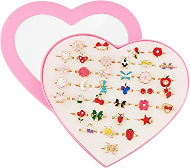 Amazon.com: SUNMALL 36 pcs Little Girl Adjustable Rings in Box, No  Duplication, Children Kids Jewelry Rings Set with Heart Shape Display Case,  Girl Pretend Play and Dress up Rings for Kids (A):