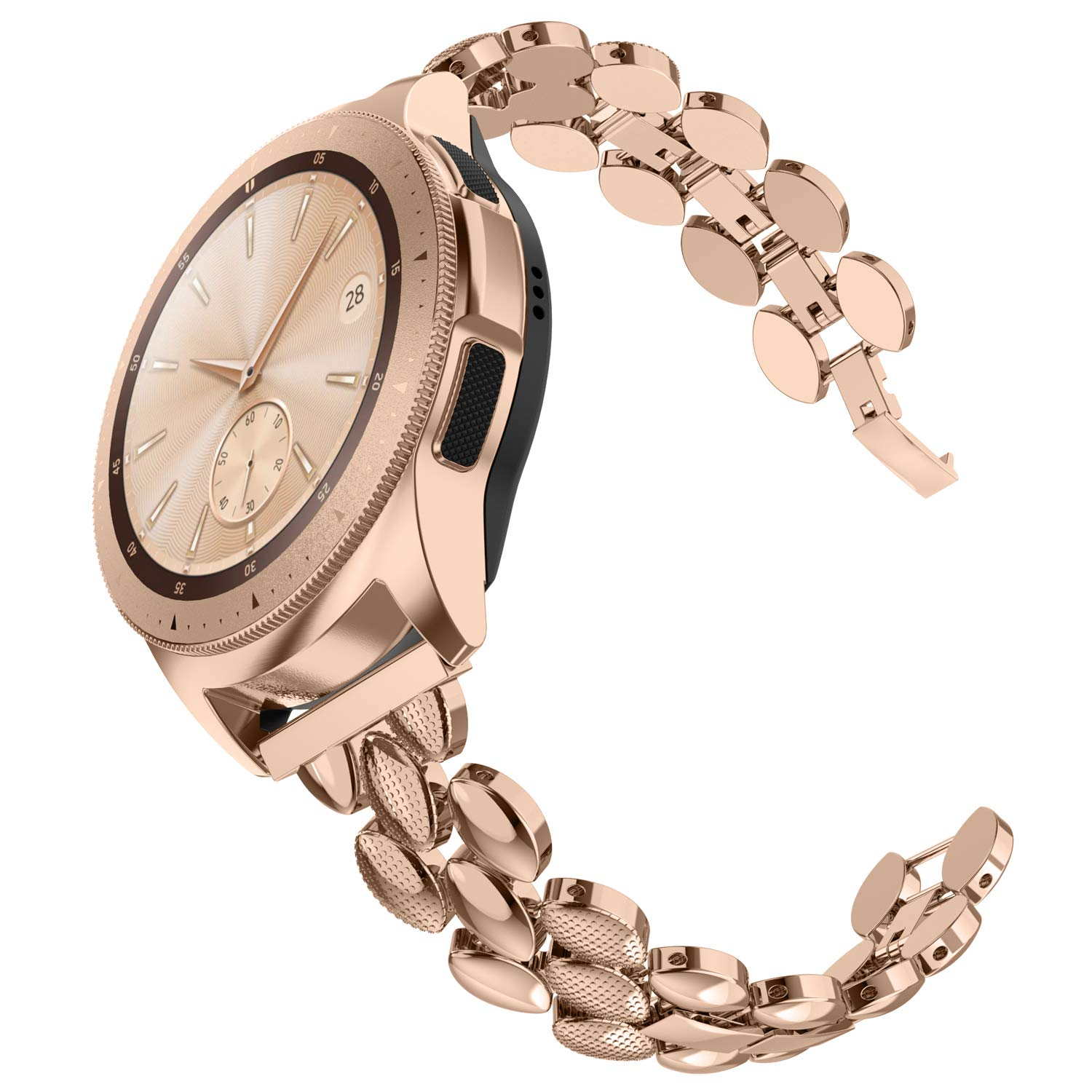 TOTOUTHS Compatible with Samsung Galaxy Watch 42mm Bands Women Stainless Steel Bracelet Replacement for Galaxy Active 2 40mm 44mm/Gear S2 Classic/Gear Sport Metal Strap Wristband 20mm Pins Rose Gold by TOYOUTHS