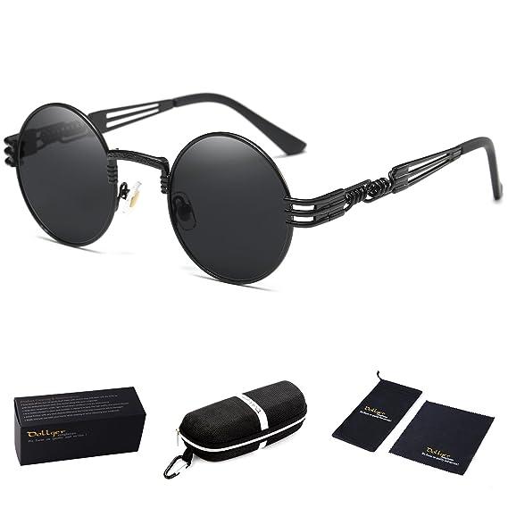 4debeb4f8c3 Dollger Black Round John Lennon Sunglasses Retro Vintage Steampunk  Sunglasses for Men