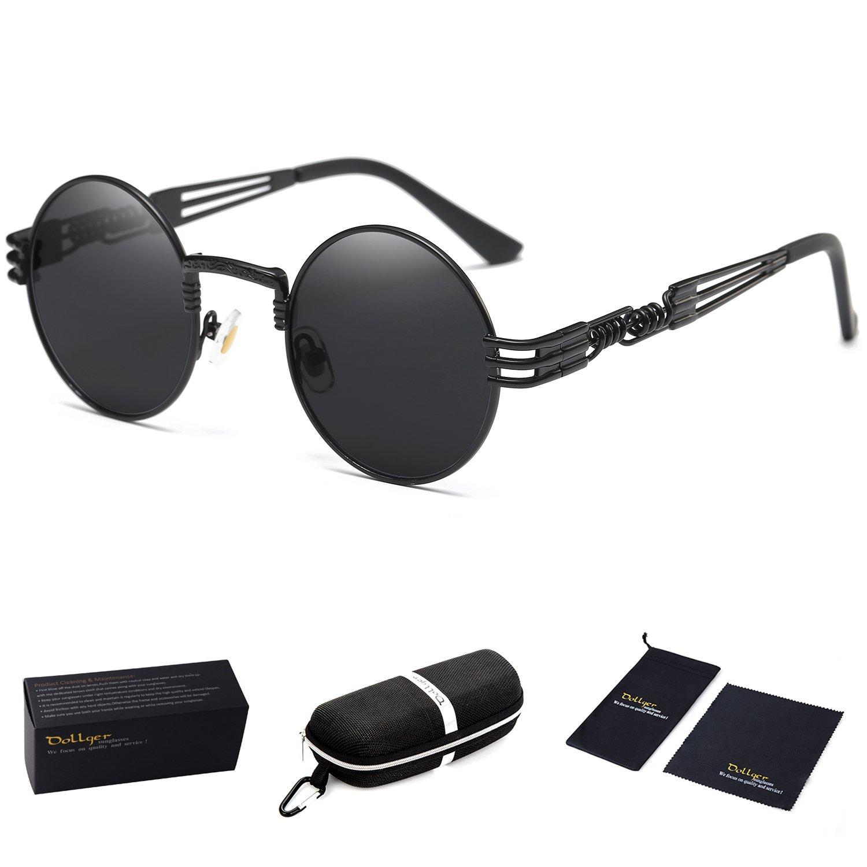 Dollger Black Round John Lennon Sunglasses Retro Vintage Steampunk Sunglasses for Men by Dollger