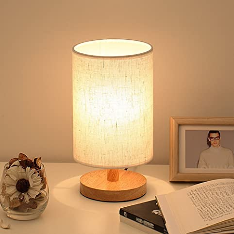 Wood Table Lamp, HQOON Bedside Table Lamps for Bedroom, Living ...
