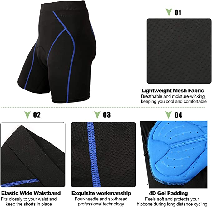 BRZSACR Cycling Shorts Mens 3D 4D Padded Bike Riding Underwear,Breathable