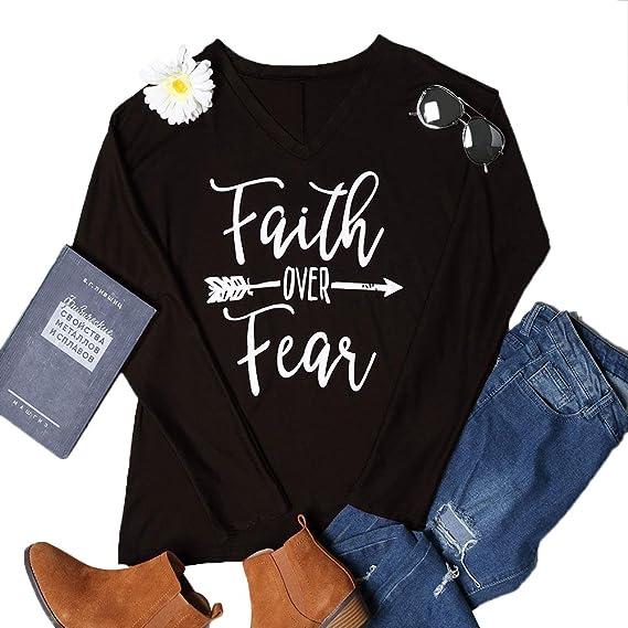 wlgreatsp De Las Mujeres Moda fe Sobre el Miedo Blusa de Manga Larga Tops Camiseta Camisas