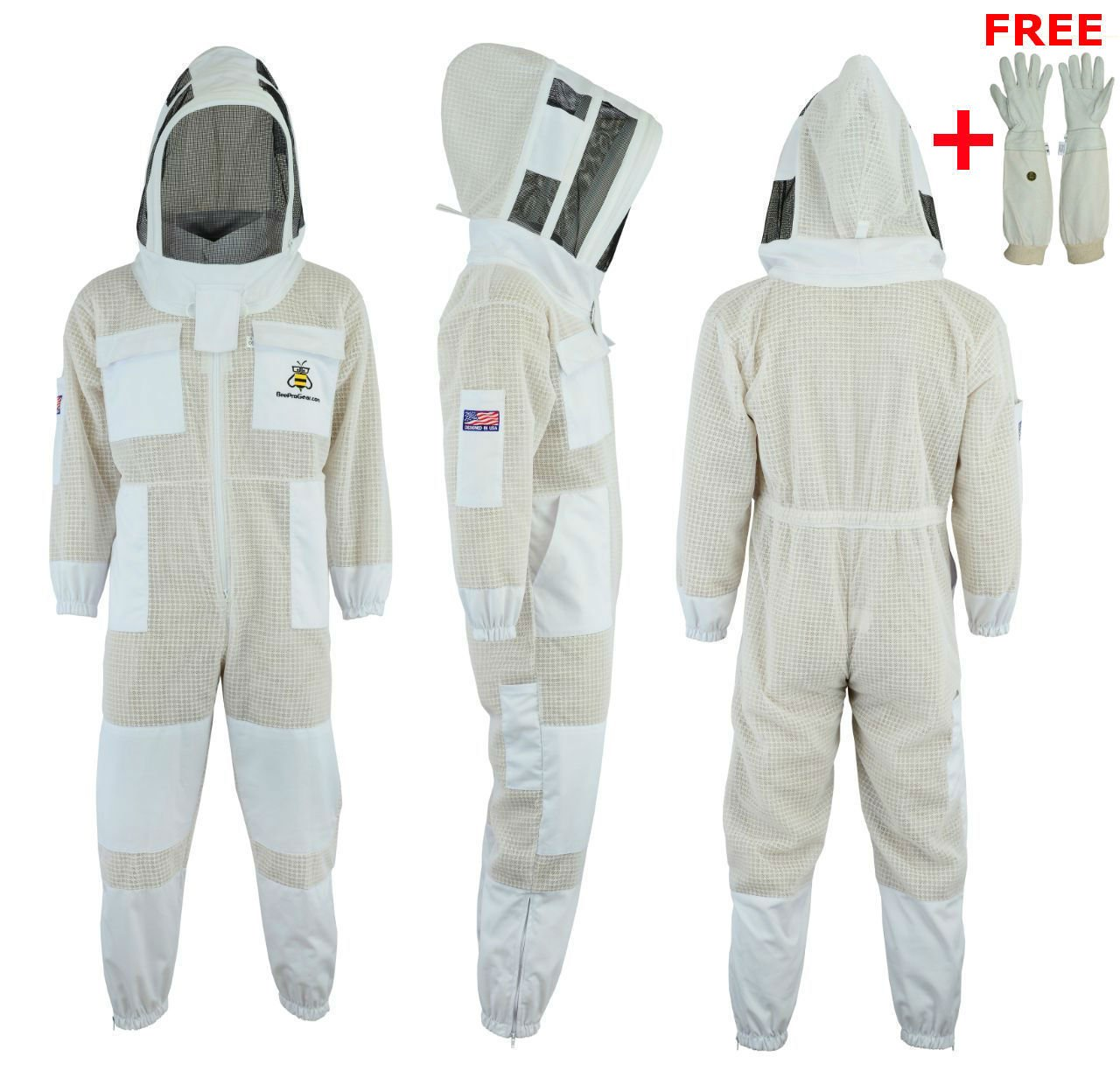 Bee Suit 3 Layer Ultra Ventilated Safety Protective Unisex White Fabric Mesh Beekeeping Jacket Beekeeper Outfit Fency Veil-XL by Bee Suit (Image #1)