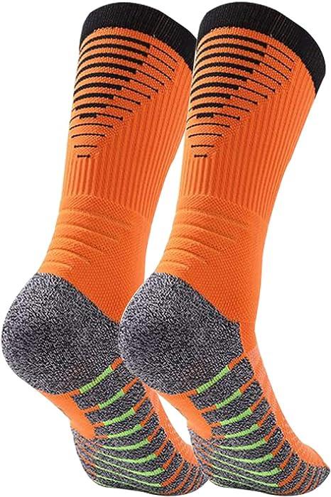 Manbozix Calcetines de Hombre Calcetines Deportivos Transpirables Calcetines de Fútbol Calcetines Deportivos Antideslizantes Unisex 38-45, Control de Humedad, Naranja: Amazon.es: Deportes y aire libre